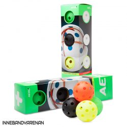 innebandybollar salming aero plus floorball 4-pack color (bild)