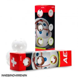 innebandybollar salming aero plus floorball 4-pack white (bild)