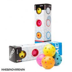 innebandybollar salming floorball aero 4-pack color (bild)
