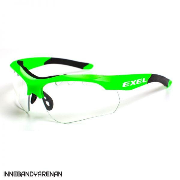 innebandyglasögon exel x100 eye guard jr green (bild)