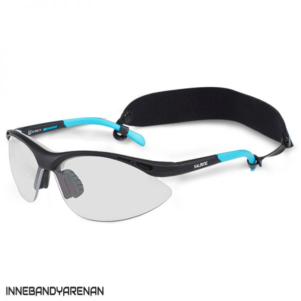 innebandyglasögon salming protective eyewear youth black/cyan (bild)