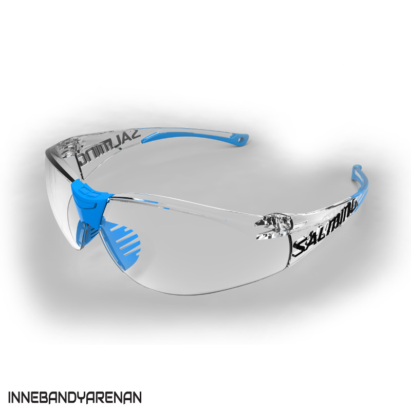 innebandyglasögon salming split vision sr transpanent/cyan (bild)