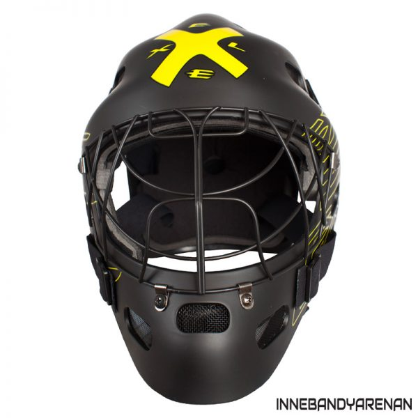 målvaktshjälm exel g1 helmet black/yellow sr (bild)