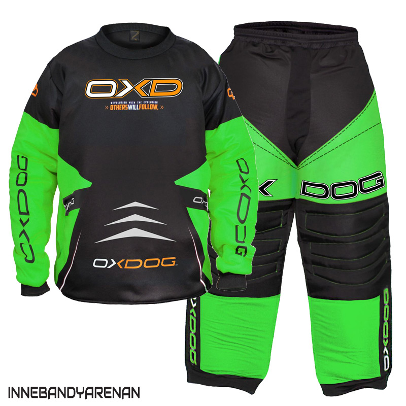 målvaktskläder oxdog vapor goalie black/green padded (bild)