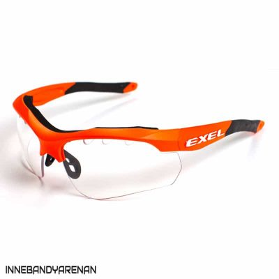 innebandyglasögon exel X100 eye guard neon orange (bild)