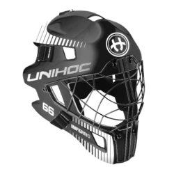 Målvaktshjälm Unihoc Goalie Mask Inferno 66 Black/White (bild)