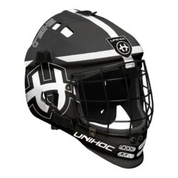Målvaktshjälm Unihoc Goalie Mask Shield Black/White (bild)