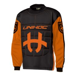 Målvaktströja Unihoc Goalie Sweater Shield Neon Orange/Black JR (bild)