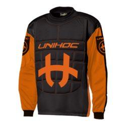 Målvaktströja Unihoc Goalie Sweater Shield Neon Orange/Black JR (bild)