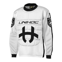 Målvaktströja Unihoc Goalie Sweater Shield White/Black JR (bild)
