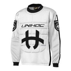 Målvaktströja Unihoc Goalie Sweater Shield White/Black JR (bild)