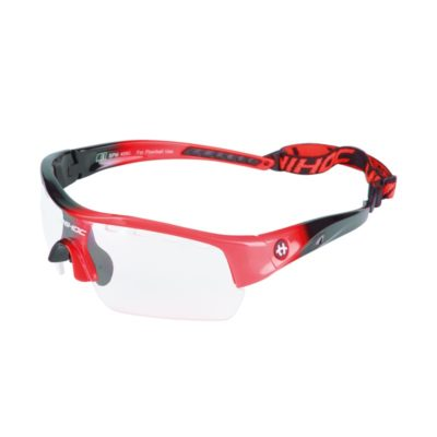 Innebandyglasögon Unihoc Eyewear Victory Junior Black/Neon Red (bild)